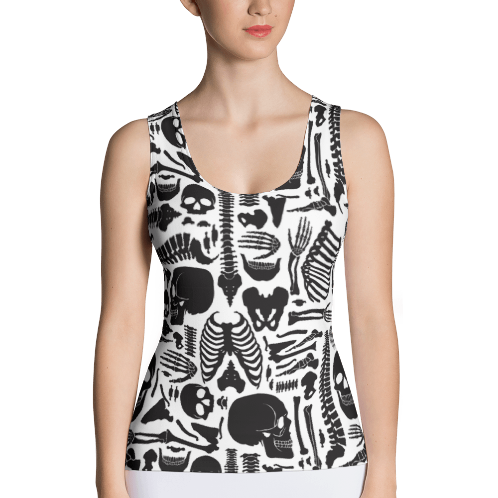 Monochrome Human Skeleton Parts Tank Top The Skullection XS