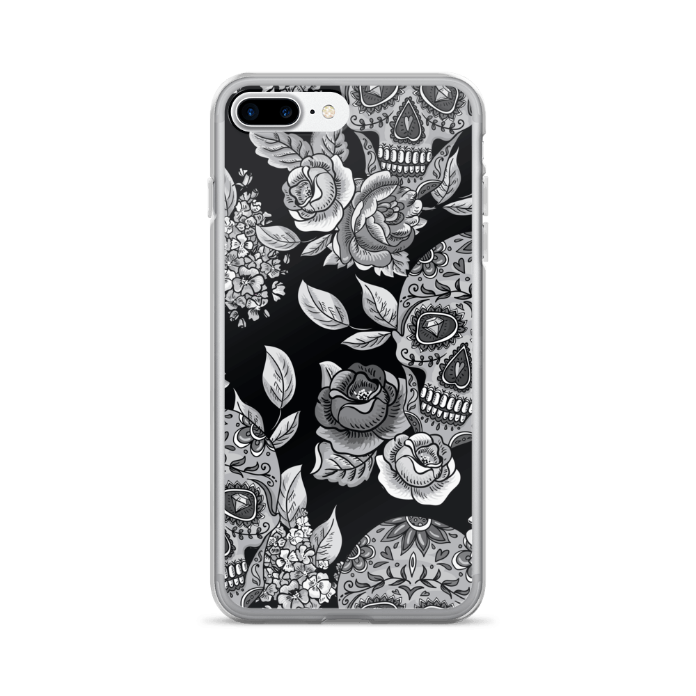Monochrome Sugar Skulls With Roses iPhone Case The Skullection iPhone 7 Plus/8 Plus