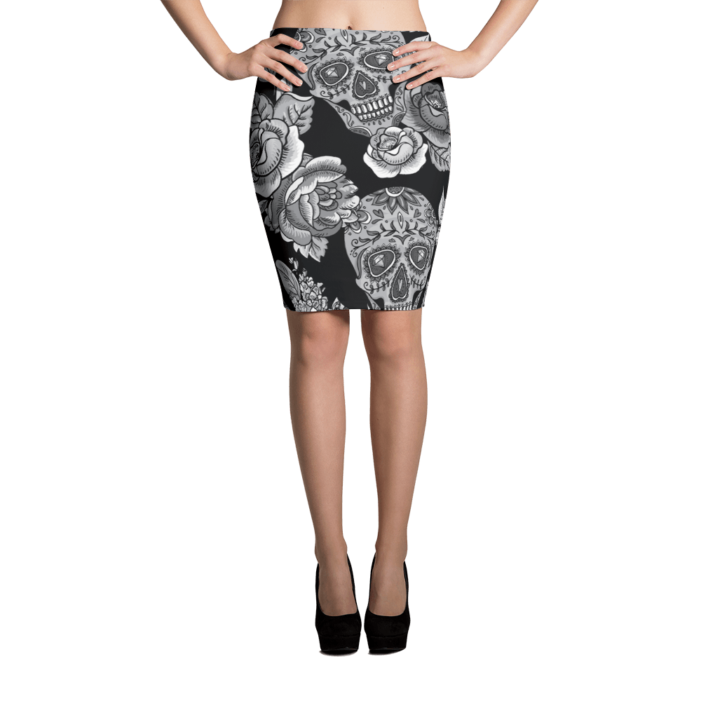 Monochrome Sugar Skulls With Roses Pencil Skirt The Skullection XS