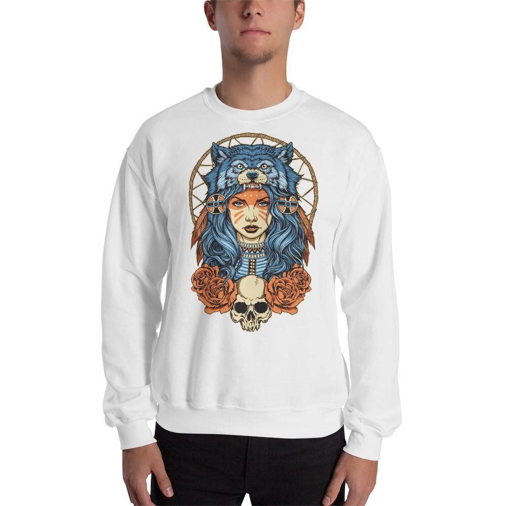 Native American Girl With Wolf Headdress Sweatshirt The Skullection White S