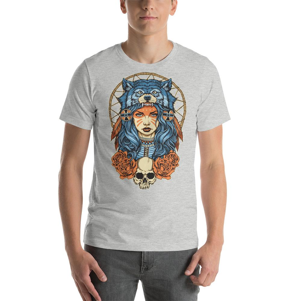 Native American Girl With Wolf Headdress T-Shirt The Skullection Athletic Heather S