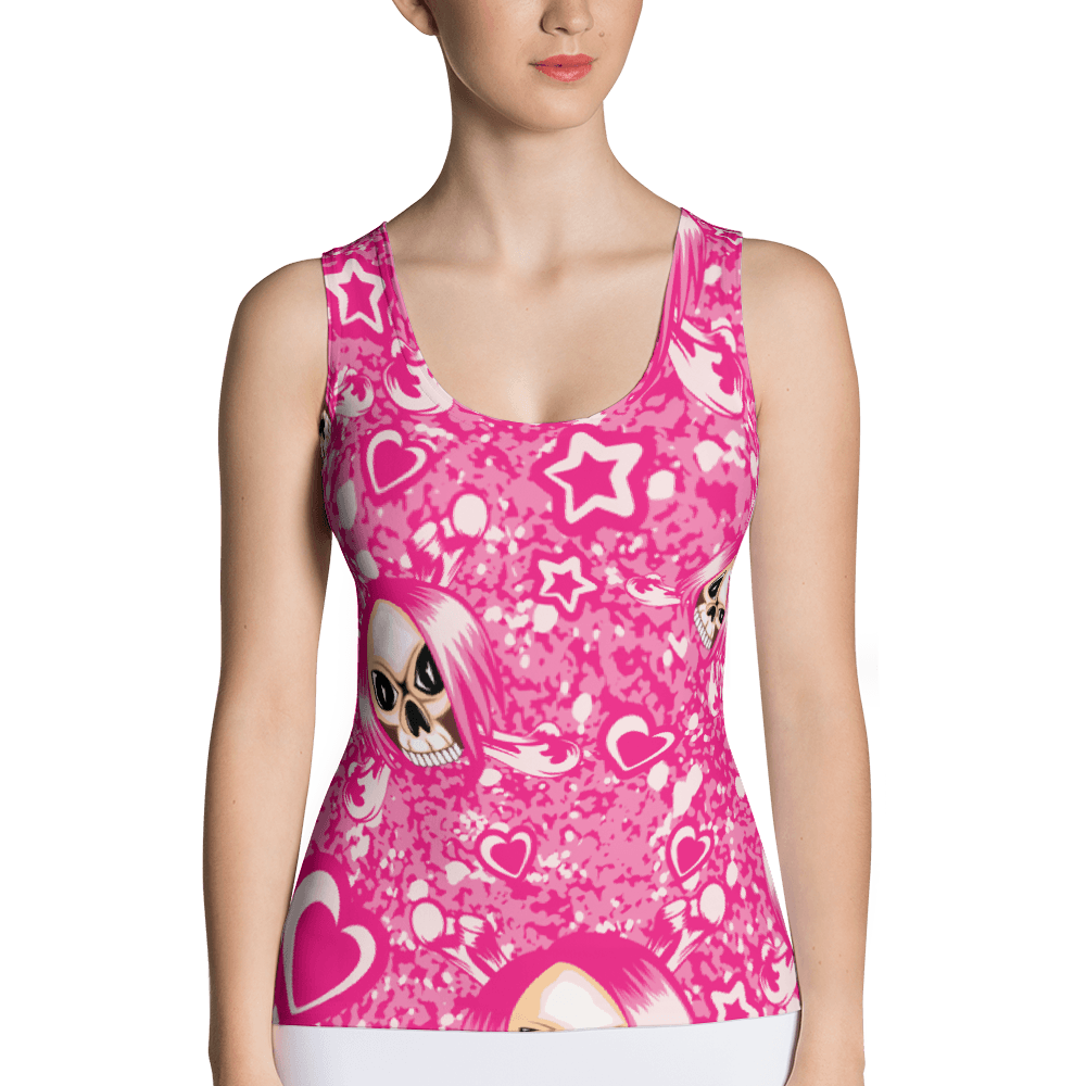Pink Emo Girl Skull With Hearts And Stars Tank Top The Skullection XS