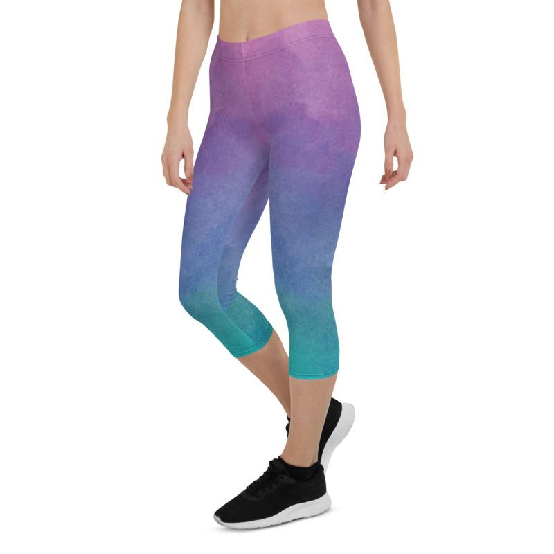 Pink Watercolored Style Capri 3/4 Leggings The Skullection