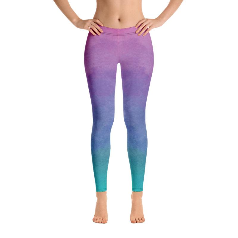 Pink Watercolored Style Leggings The Skullection