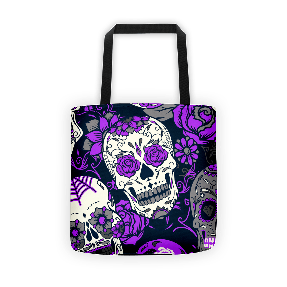 Purple Sugar Skull Tote Bag The Skullection