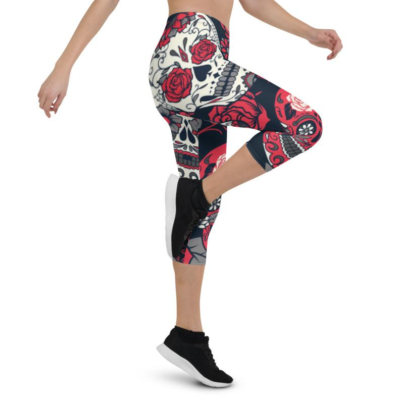 Red Roses Sugar Skull Capri Leggings Leggings The Skullection