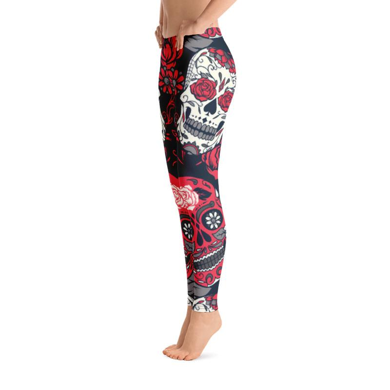 Red Roses Sugar Skull Leggings Leggings The Skullection