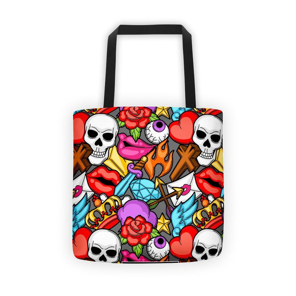 Retro Tattoo Symbols Cartoon Tote Bag The Skullection