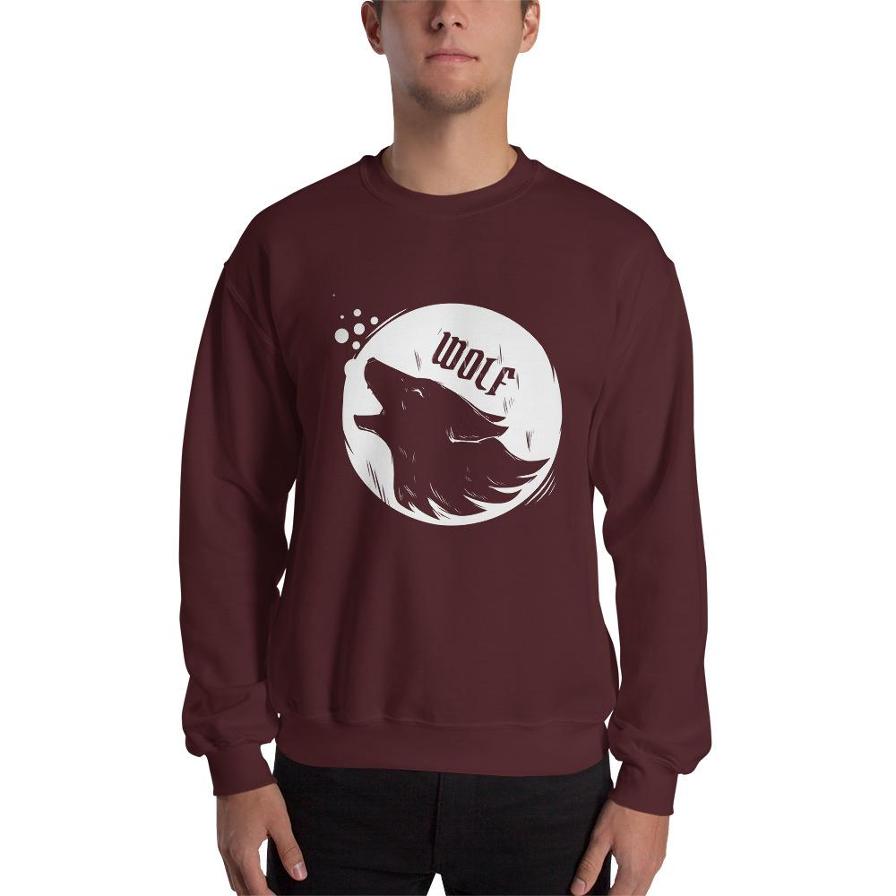Silhouette Of Wolf Howling Moon Sweatshirt The Skullection Maroon S