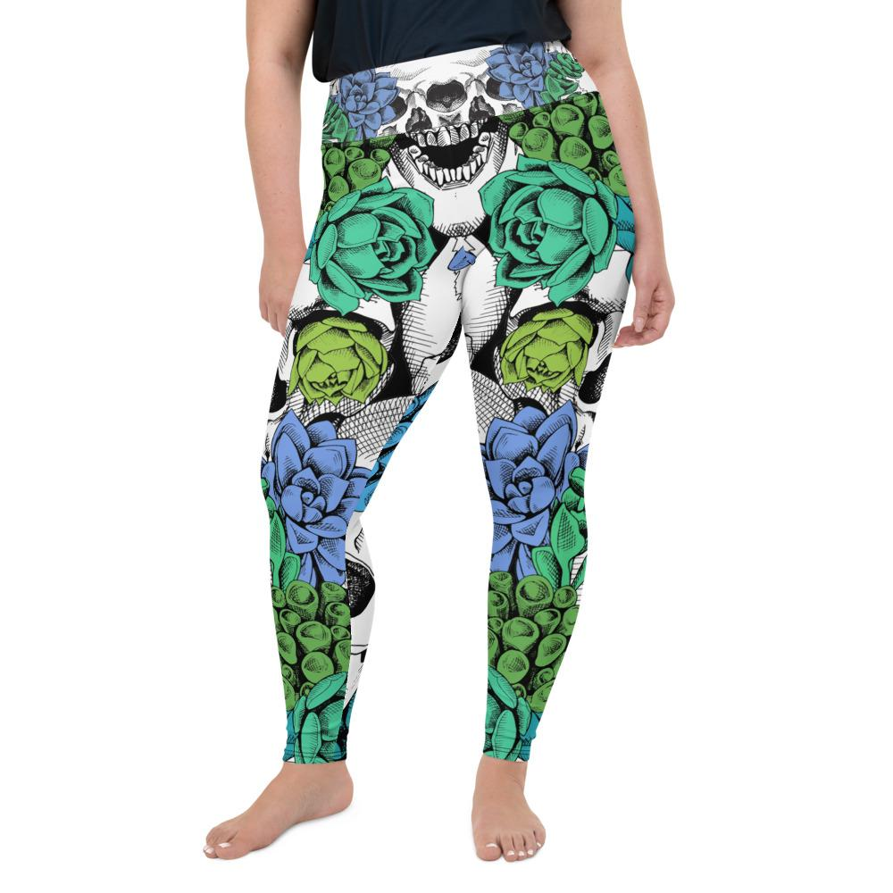 Skull And Succulent Plant Plus Size Leggings The Skullection 2XL