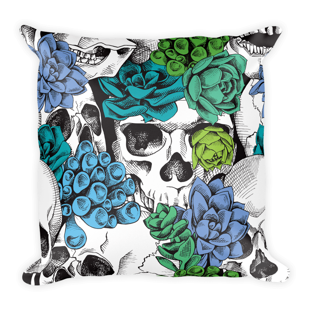 Skull And Succulent Plant Square Pillow The Skullection