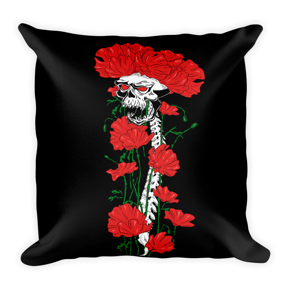 Skull Flowers Growing Up Square Pillow The Skullection