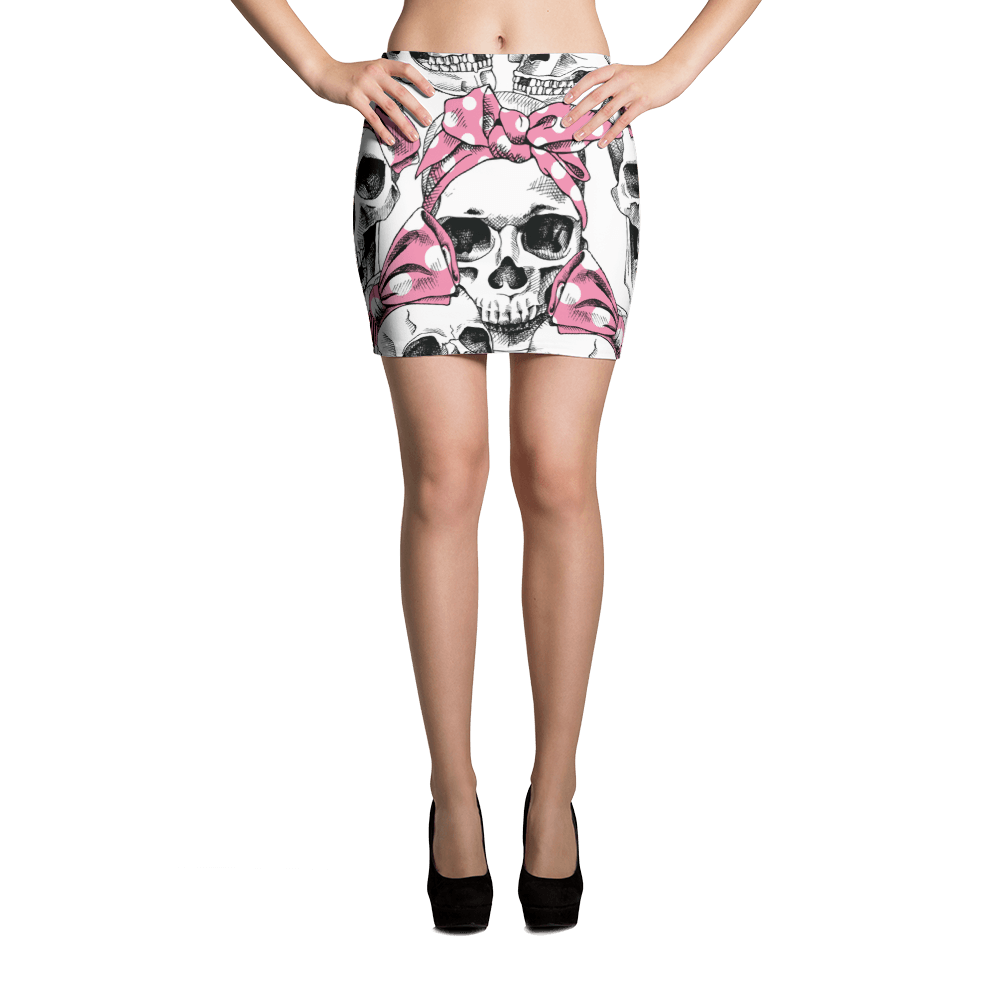 Skull In Pink Headband Mini Skirt The Skullection XS