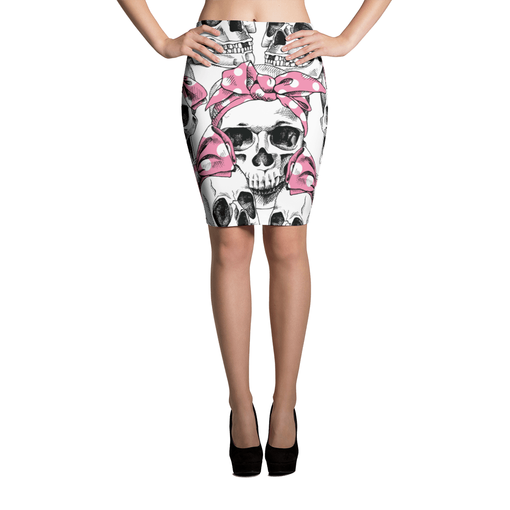Skull In Pink Headband Pencil Skirt The Skullection XS