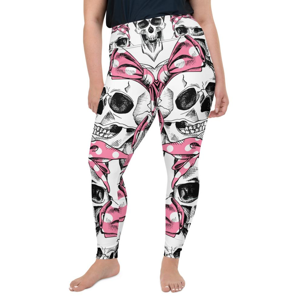 Skull In Pink Headband Plus Size Leggings The Skullection 2XL
