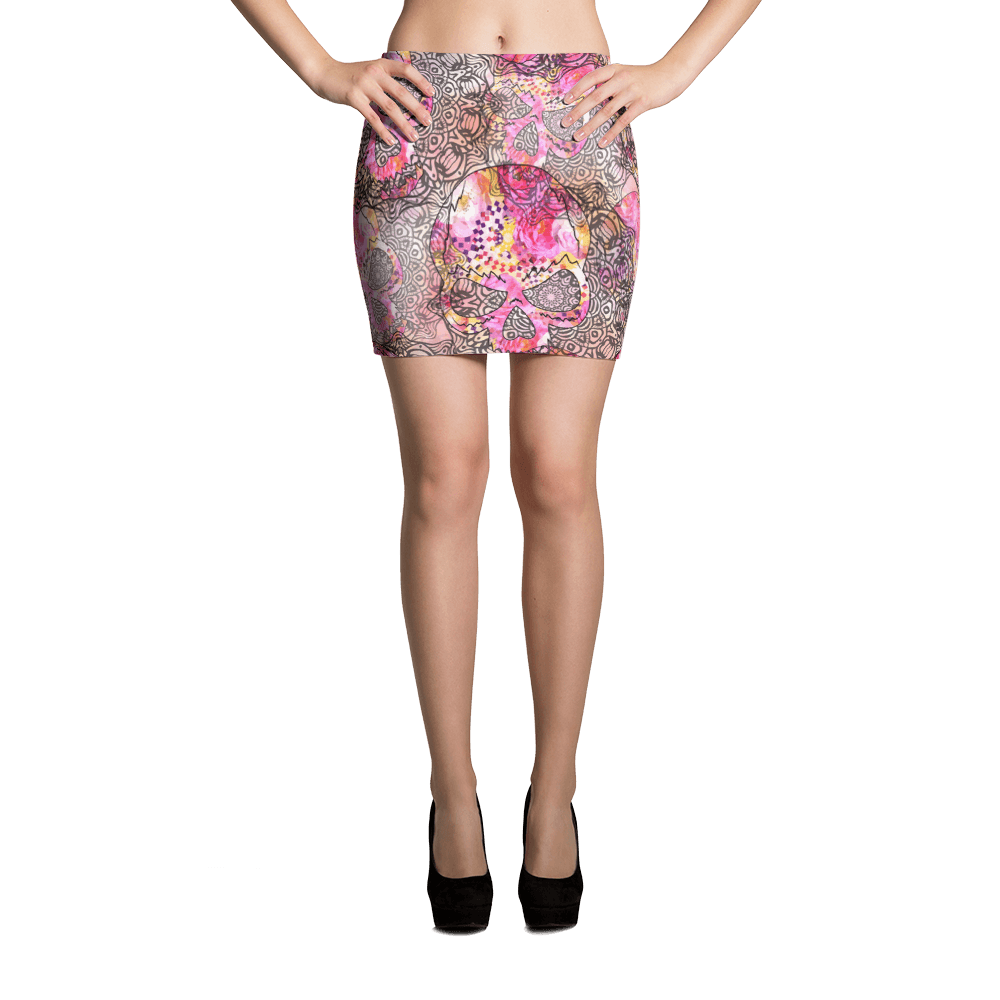 Skulls With Mandala Ornaments Mini Skirt The Skullection XS
