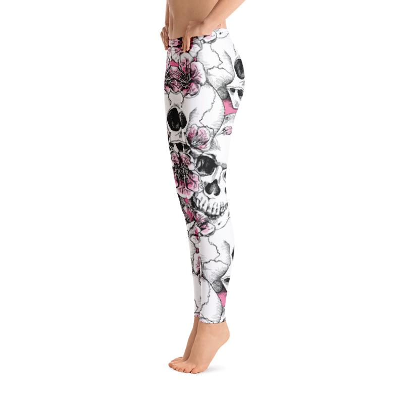 Skulls With Pink Cherry Flowers Leggings The Skullection