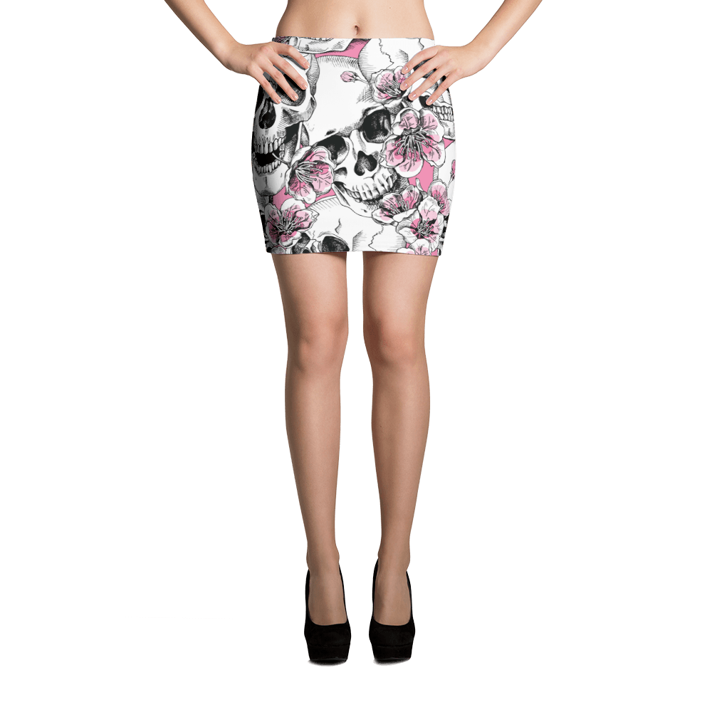 Skulls With Pink Cherry Flowers Mini Skirt The Skullection XS