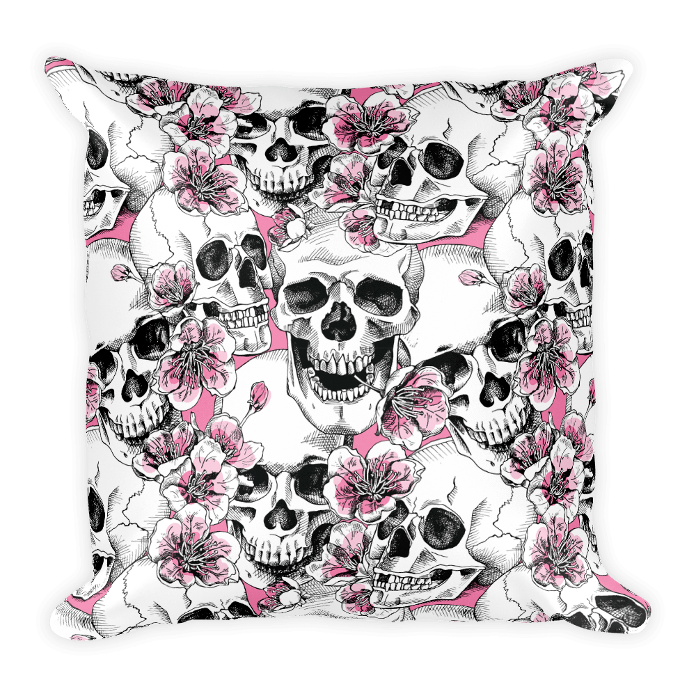 Skulls With Pink Cherry Flowers Square Pillow The Skullection