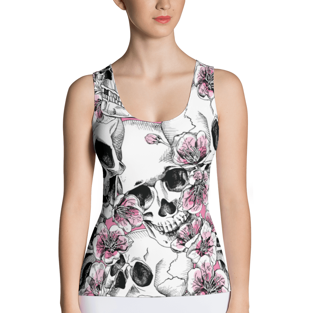 Skulls With Pink Cherry Flowers Tank Top The Skullection XS