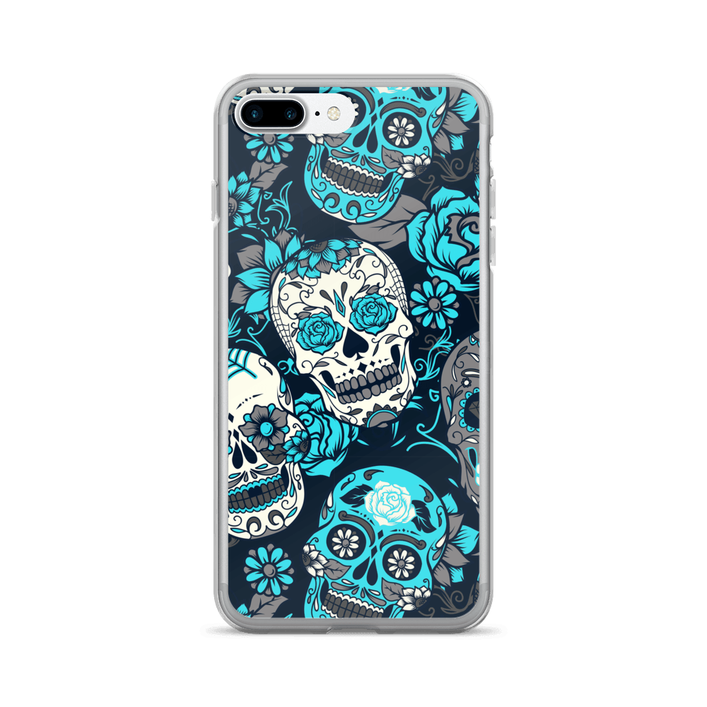 Sky Blue Sugar Skull iPhone Case The Skullection iPhone 7 Plus/8 Plus