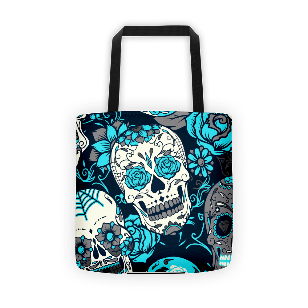 Sky Blue Sugar Skull Tote Bag The Skullection