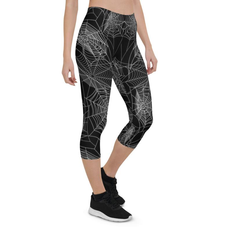 Spider Web Capri Leggings The Skullection