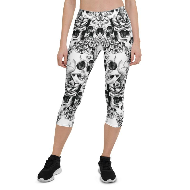 Succulent Plant Skull Flowers Capri ¾ Leggings Leggings The Skullection