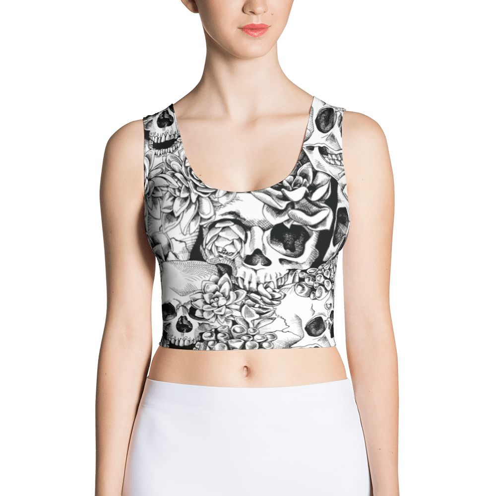 Succulent Plant Skull Flowers Crop Top The Skullection XS