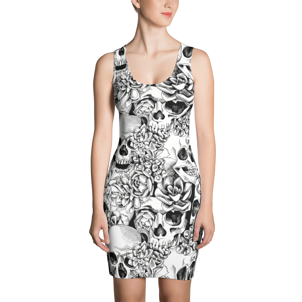 Succulent Plant Skull Flowers Dress The Skullection XS