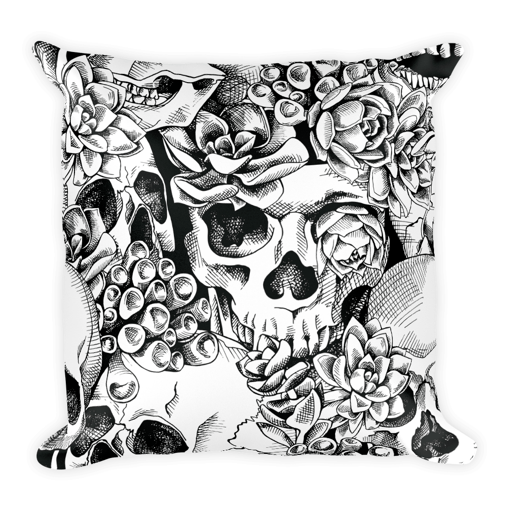 Succulent Plant Skull Flowers Square Pillow The Skullection