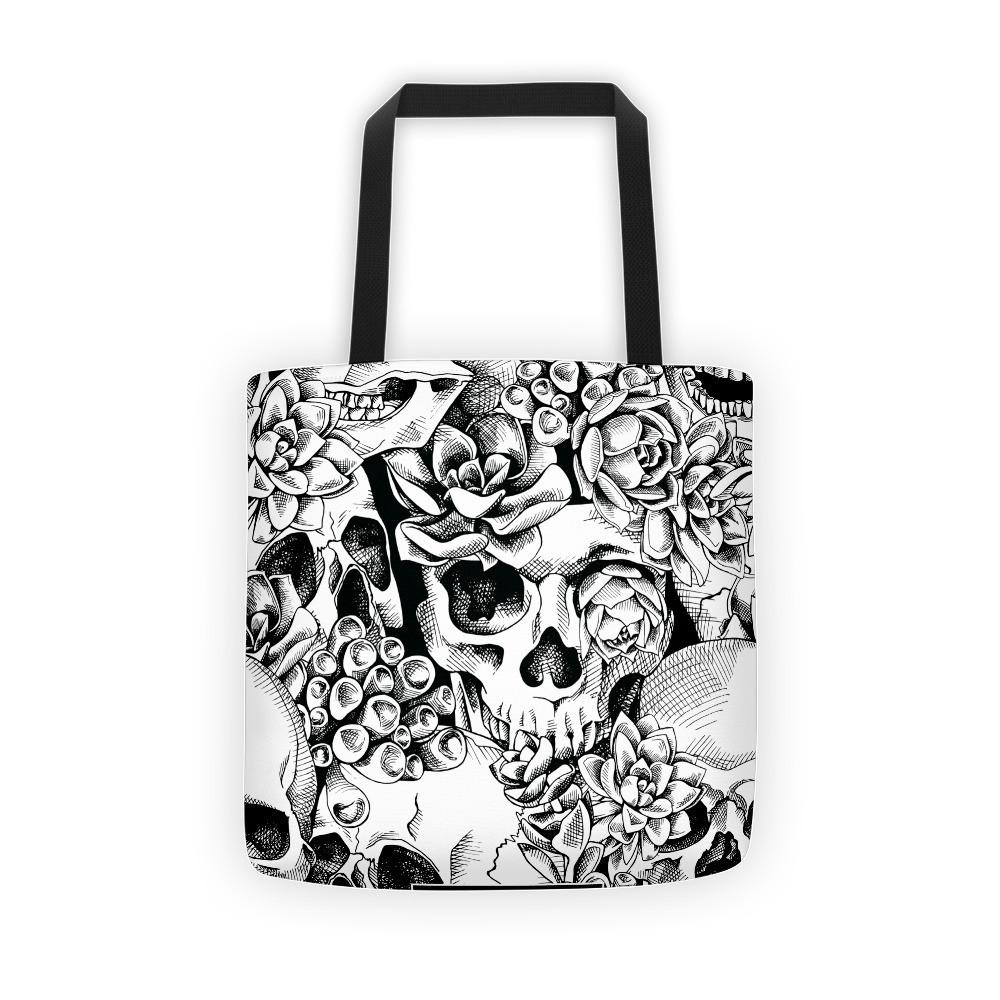 Succulent Plant Skull Flowers Tote Bag The Skullection