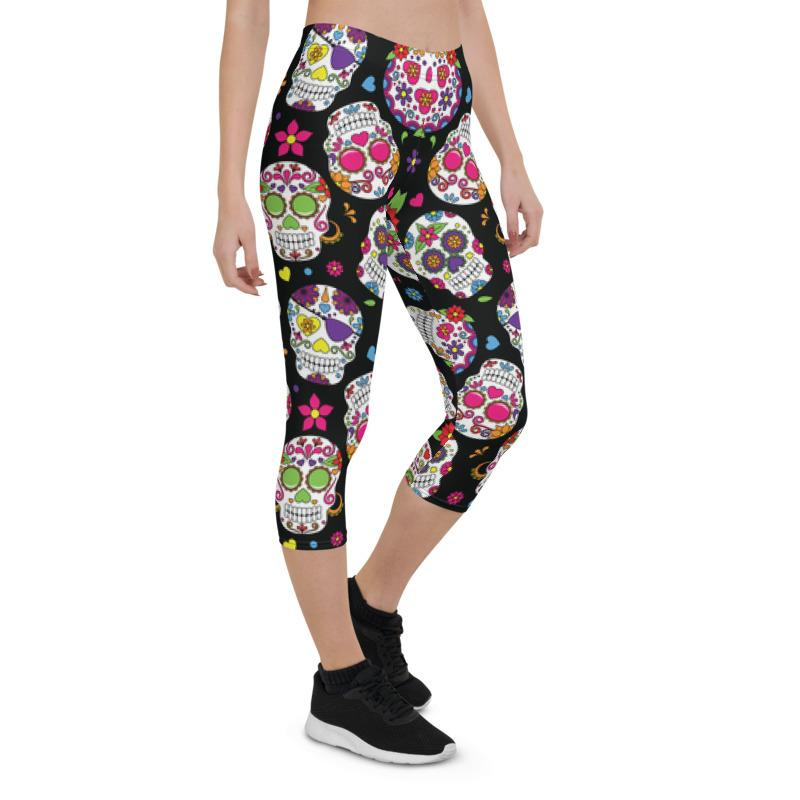 Sugar Skulls All Over The Place Capri ¾ Leggings Leggings The Skullection