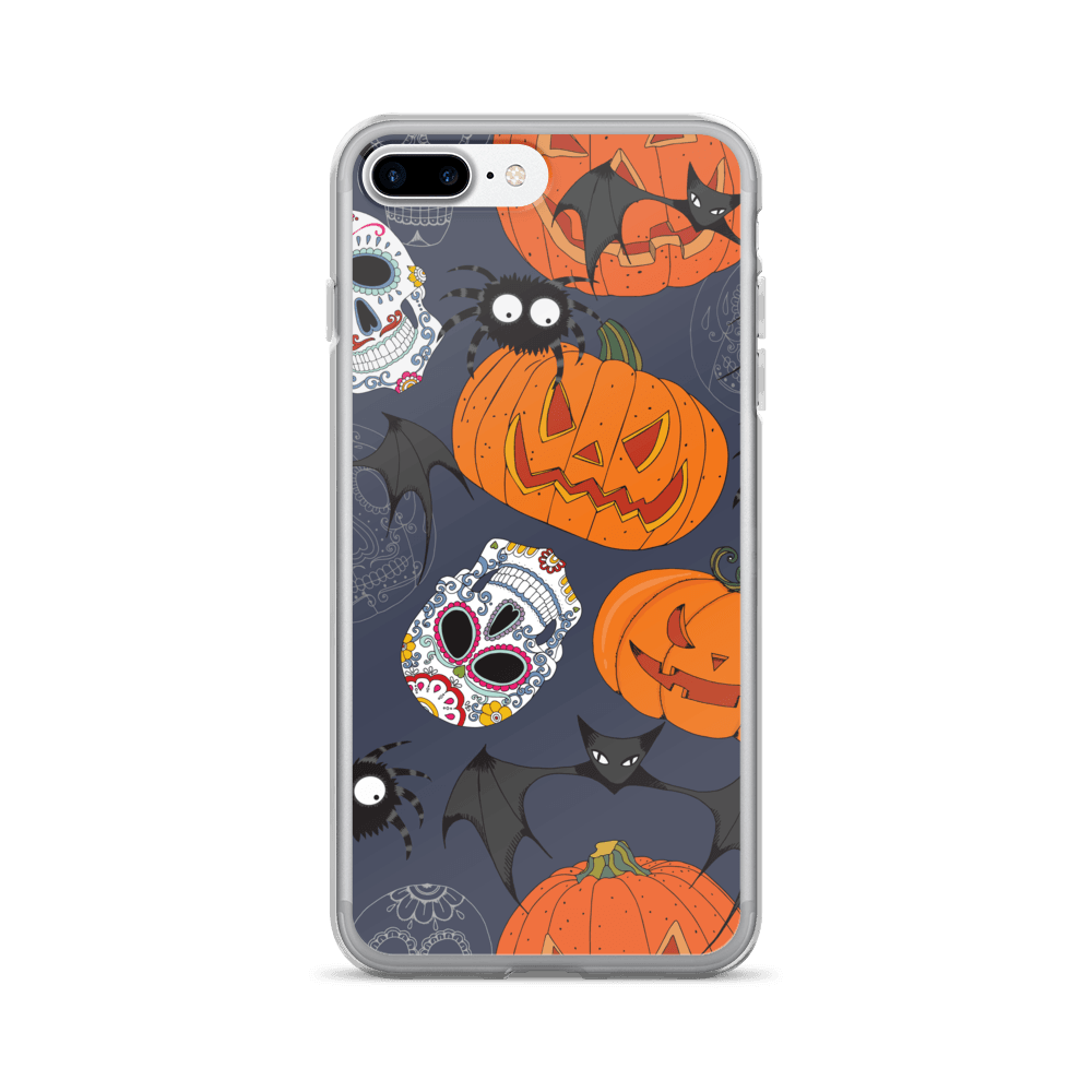 Sugar Skulls With Spiders Bat Halloween Day iPhone Case The Skullection iPhone 7 Plus/8 Plus