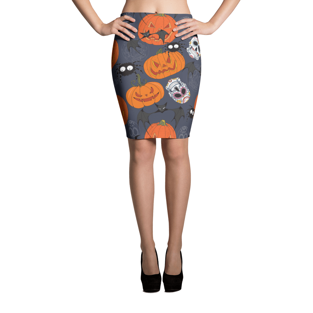 Sugar Skulls With Spiders Bat Halloween Day Pencil Skirt The Skullection XS