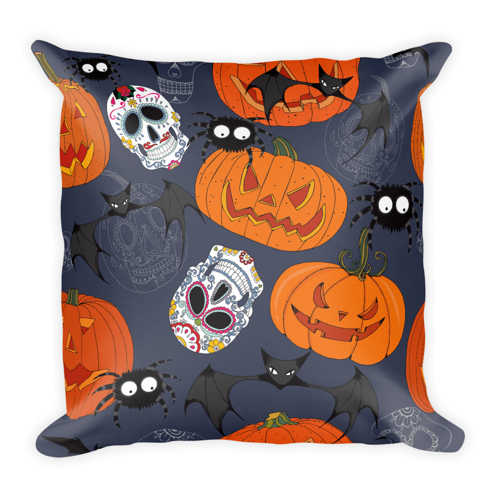 Sugar Skulls With Spiders Bat Halloween Day Square Pillow The Skullection