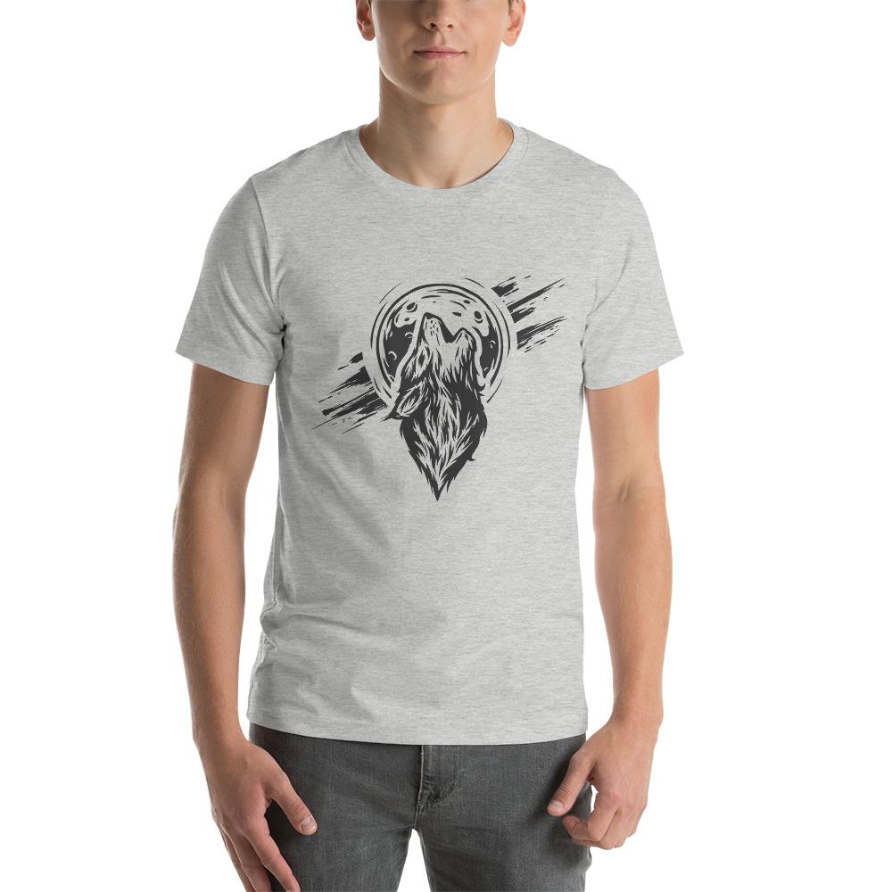 The Wolf On The Moon T-Shirt The Skullection Athletic Heather S