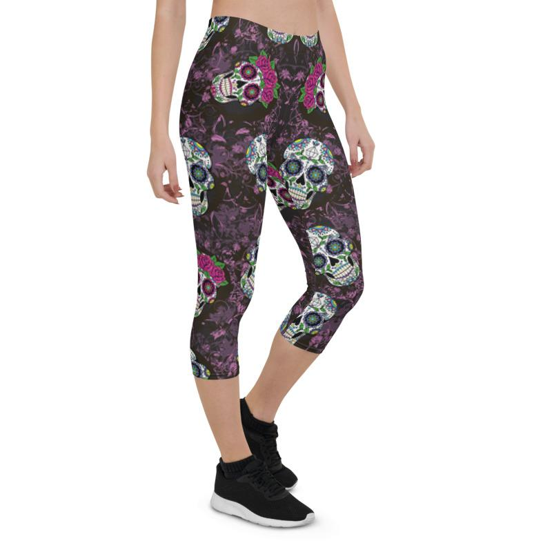 Violet Sugar Skulls Capri ¾ Leggings Leggings The Skullection