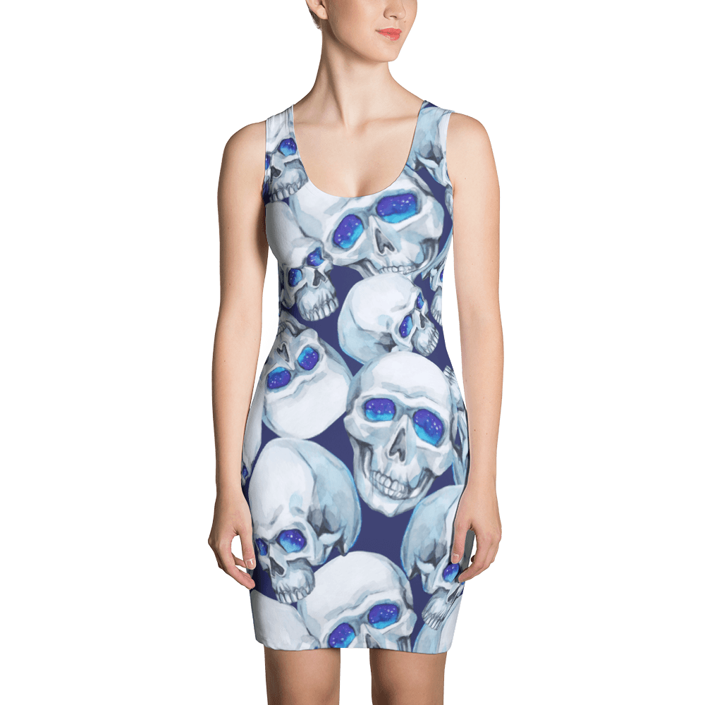 Watercolor Mystic Skulls Dress The Skullection XS