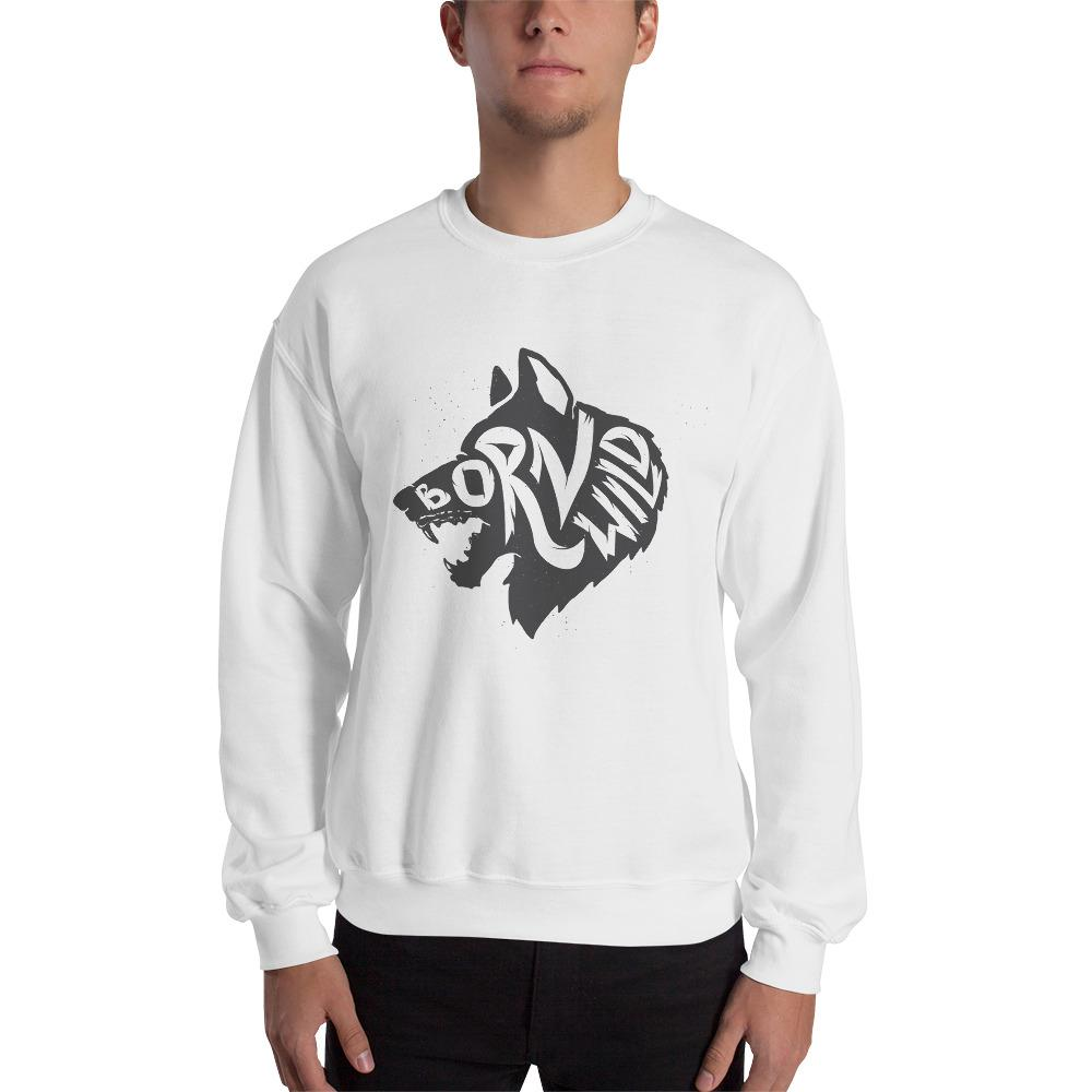 Wolf Born To Be Wild Sweatshirt The Skullection White S