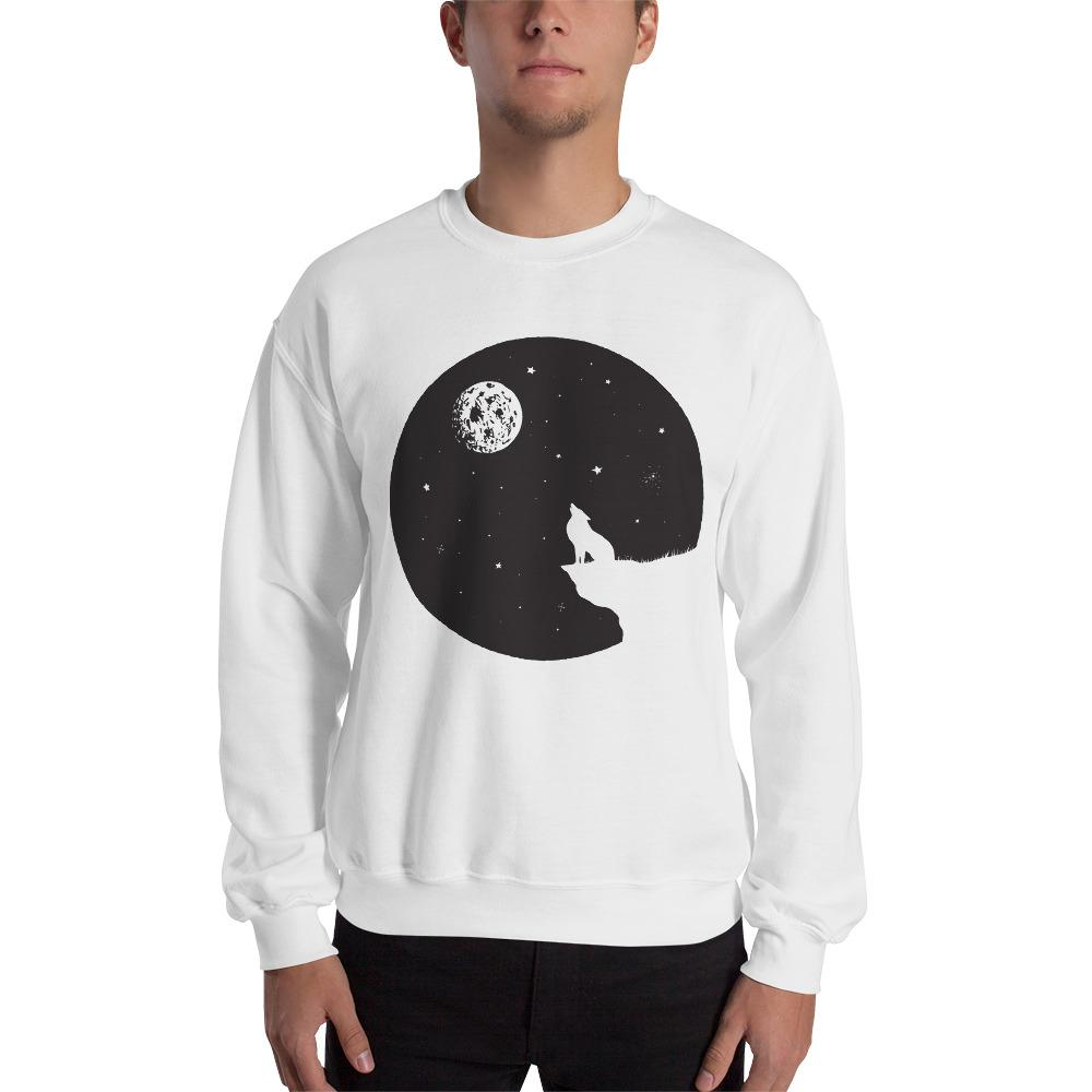 Wolf Sits On A Breakage Sweatshirt The Skullection White S
