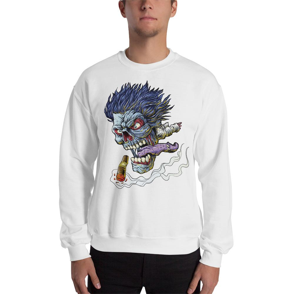 Zombie Flying Head Sweatshirt The Skullection White S