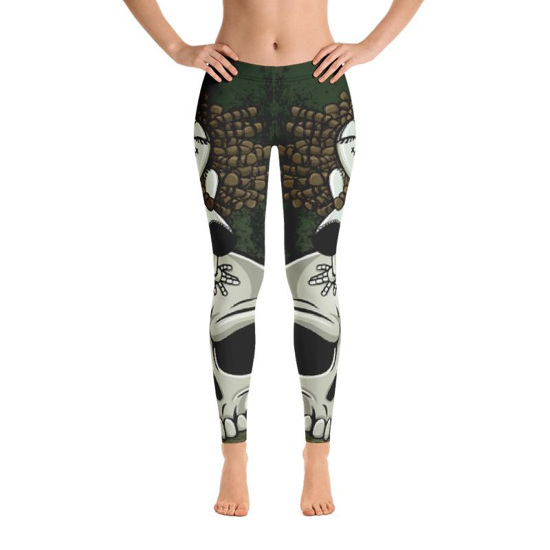 Zombie Pin-up Girl Straddling A Scowling Skull Leggings The Skullection