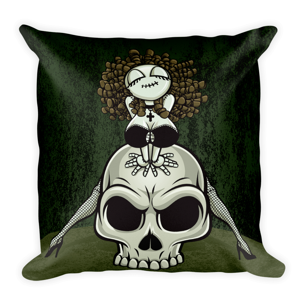 Zombie Pin-up Girl Straddling A Scowling Skull Square Pillow The Skullection