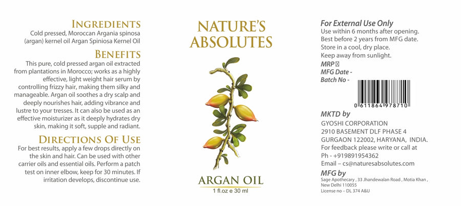 Cold Pressed - Argan Oil-  Natural Moisturizer For hair and skin