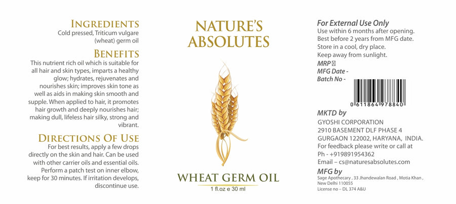 Cold Pressed - Wheat Germ Oil - Natural Moisturizer For hair and skin (30 ml)