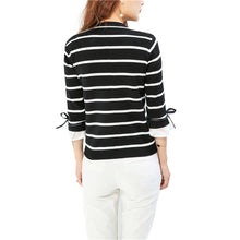 Black white striped knitted casual tops - Xinoki