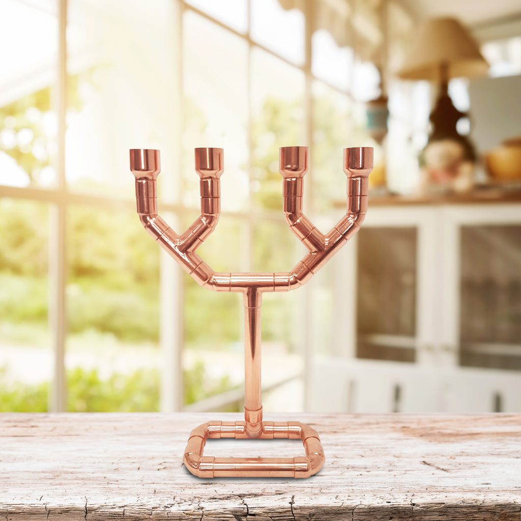 The 4-Candle Punk - Copper Pipe Candle Holder
