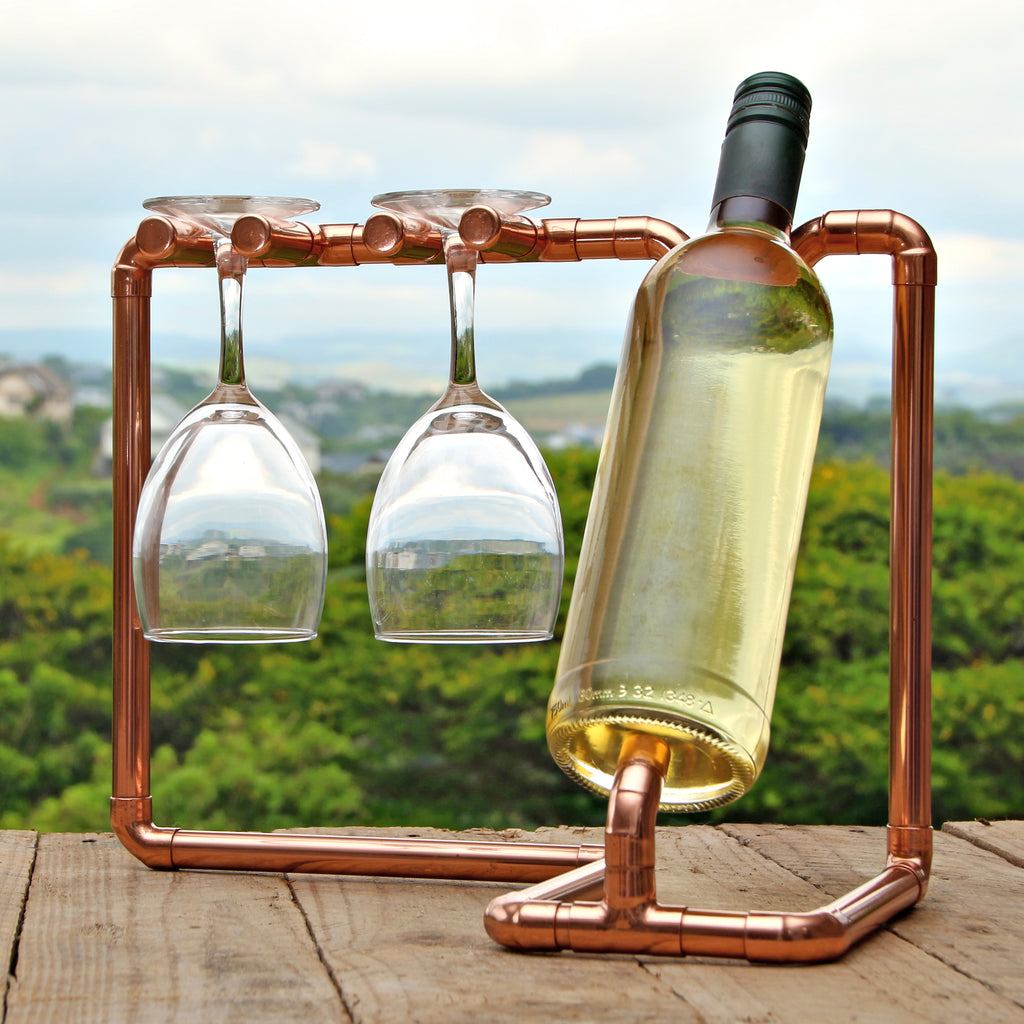 Wine punk - Copper Pipe Wine Bottle Holder - interior design.