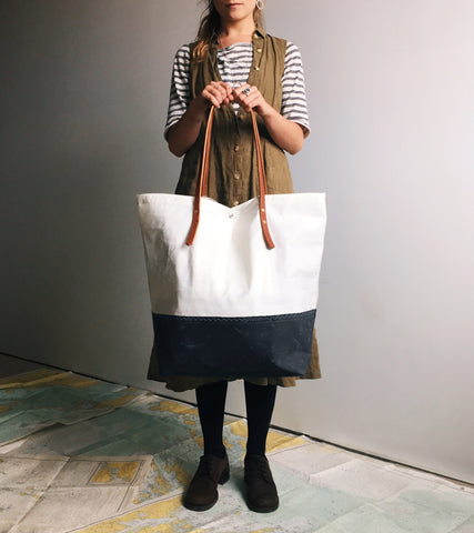 Recycled, Reclaimed & repurposed sails are used to make sustainable, eco friendly, waterproof sailcloth bags in the Eighth Belle Studio.